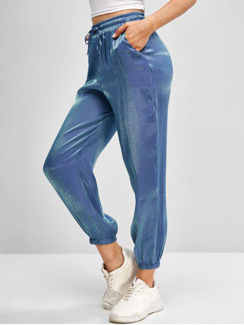 lady Drawstring Reflective Glitter Jogger Pants - BLUE L Mobile