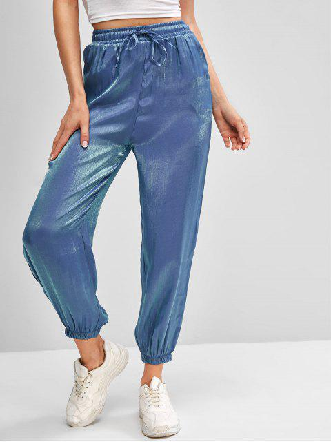 best Drawstring Reflective Glitter Jogger Pants - BLUE XL Mobile