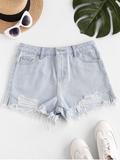 shop Destroyed Frayed Hem Denim Cutoff Shorts - LIGHT BLUE 2XL Mobile