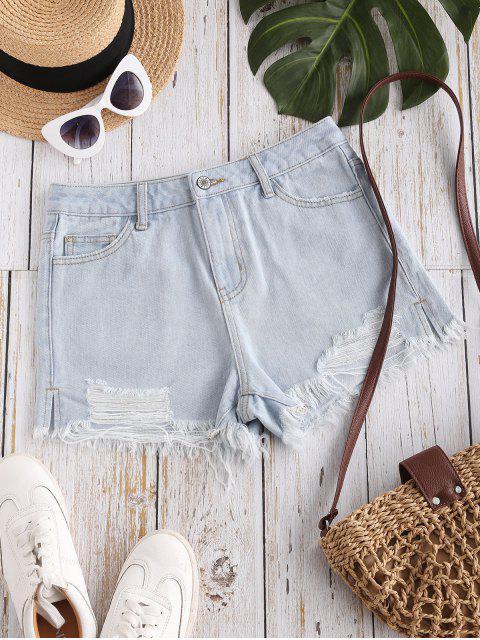 latest Destroyed Frayed Hem Denim Cutoff Shorts - LIGHT BLUE XL Mobile
