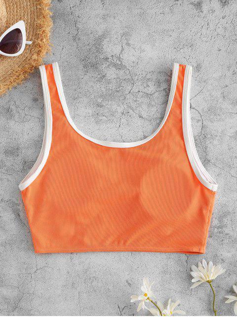 buy ZAFUL Ribbed Binding V Notch Cropped Bikini Top - ORANGE S Mobile