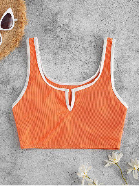 ZAFUL Haut de Bikini Court Côtelé à Col V - Orange S Mobile