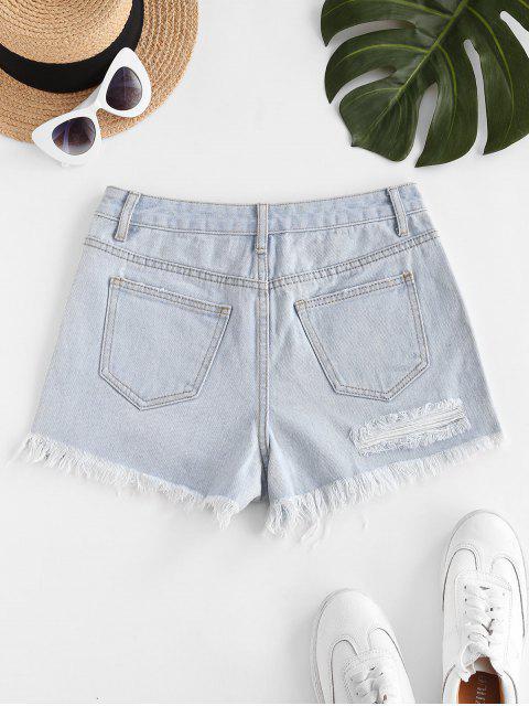 unique Destroyed Frayed Hem Denim Cutoff Shorts - LIGHT BLUE L Mobile