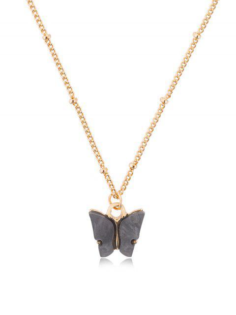 Acryl Schmetterling Anhänger Kette Halskette - Kohle Grau  Mobile