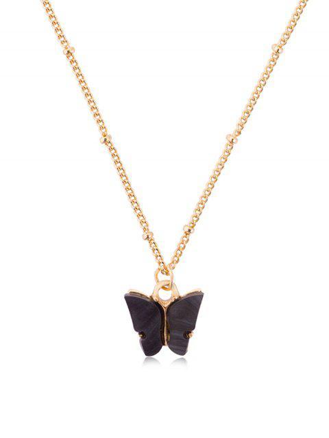 Collar de Cadena de Mariposa de Acrílico Colgante - Negro  Mobile