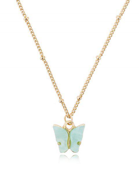 Collier Chaîne Pendant Papillon en Acrylique - Bleu Corail  Mobile