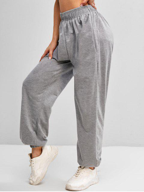 trendy High Waisted Pocket Jogger Sweatpants - GRAY M Mobile
