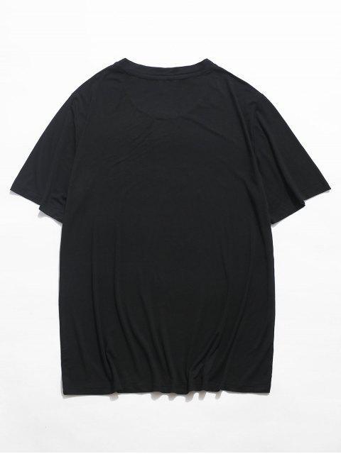 Camisa de ImpressãoTribal com Bloco de Cor Pintada - Preto 2XL Mobile