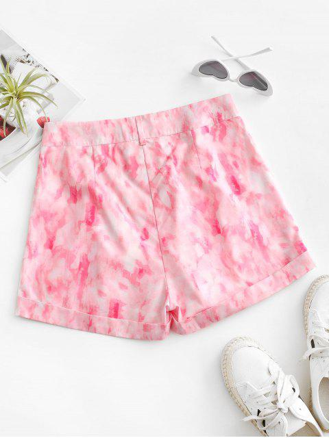 affordable Tie Dye Zip Fly Cuffed Shorts - LIGHT PINK M Mobile
