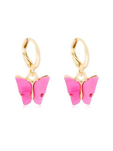 Schmetterling Anhänger Kleine Ohrringe - Violett Rot  Mobile