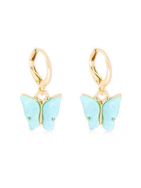 lady Butterfly Pendant Small Hoop Earrings - TRON BLUE  Mobile