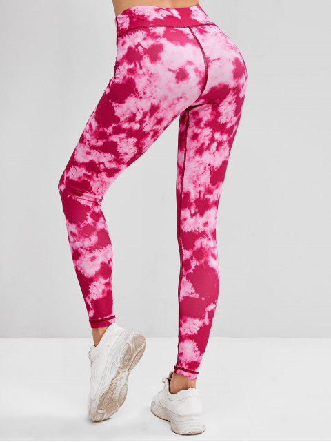 best Tie Dye Topstitching High Rise Leggings - RED S Mobile