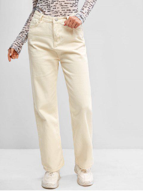 buy Zip Fly Basic Straight Jeans - WHITE L Mobile