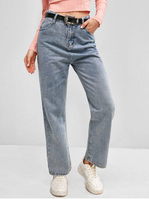 fashion Zip Fly Basic Straight Jeans - LIGHT BLUE L Mobile