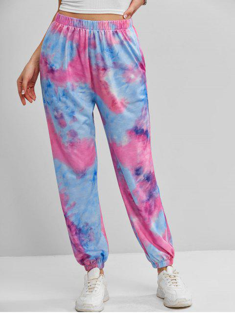 womens ZAFUL Tie Dye Pocket Jogger Pants - PURPLE XL Mobile