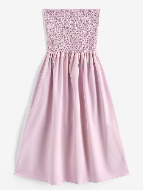 trendy Smocked A Line Tube Dress - LIGHT PINK S Mobile