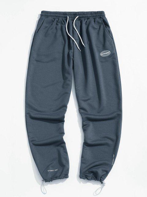 Pantalones Deportivos Elásticos con Estampado de Letras - Niebla Azul 2XL Mobile