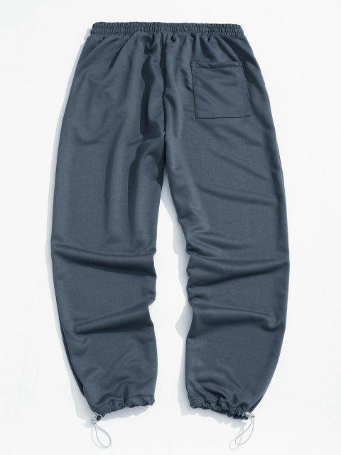 Buchstabedruck Elastische Taille Jogginghose - Nebel Blau 2XL Mobile