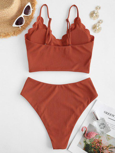 ZAFUL Gerippte Überbackene Surplice Tankini Badebekleidung - Orange 2XL Mobile