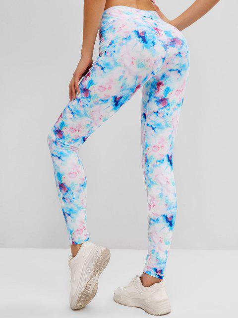 women Tie Dye Topstitching Skinny Leggings - LIGHT BLUE L Mobile