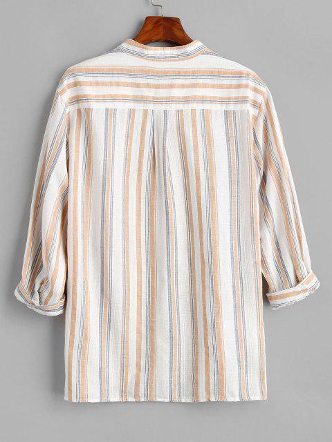 affordable Stripes Half Button Kurta Shirt - WHITE M Mobile