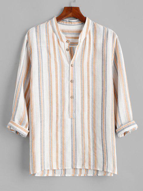 Camisa a Rayas con Botones con Mangas Medianas - Blanco 3XL Mobile