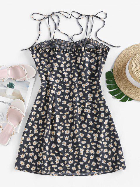 outfit ZAFUL Daisy Print Mini Cami Dress - BLACK S Mobile