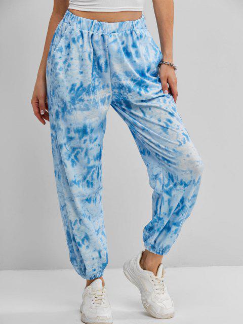 Pantalon de Jogging Teinté à Taille Haute avec Poche - Bleu L Mobile