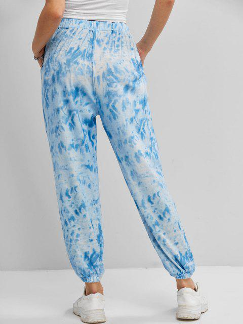 trendy Tie Dye Pocket High Waisted Jogger Pants - BLUE M Mobile
