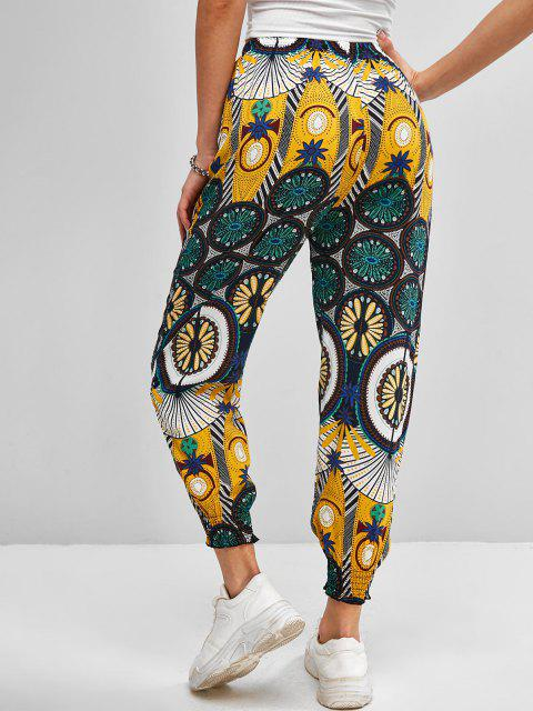 fancy High Waisted Printed Bohemian Jogger Pants - YELLOW S Mobile