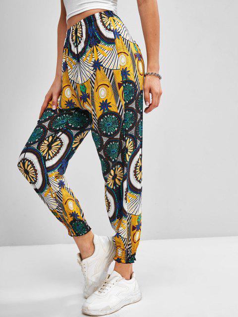 buy High Waisted Printed Bohemian Jogger Pants - YELLOW L Mobile