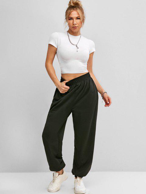 trendy High Waisted Pocket Jogger Sweatpants - BLACK M Mobile