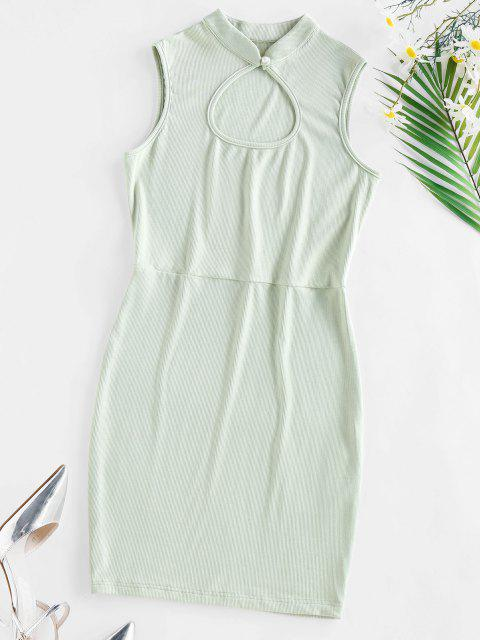 shop ZAFUL Ribbed Keyhole Bodycon Dress - LIGHT GREEN L Mobile