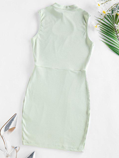 unique ZAFUL Ribbed Keyhole Bodycon Dress - LIGHT GREEN M Mobile