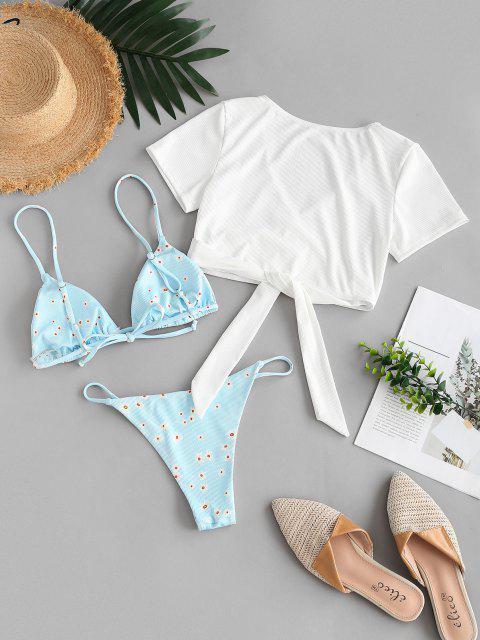 ZAFUL Bañador de Tres Piezas con Nudo Acanalado Floral - Azul Claro S Mobile