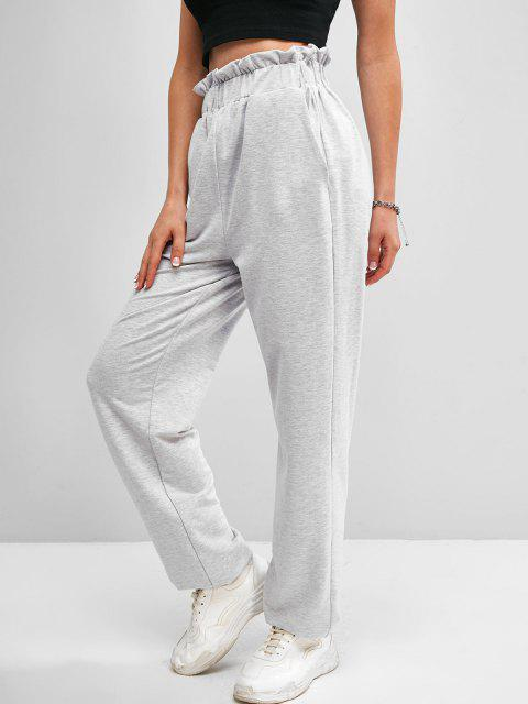 women ZAFUL High Waist Paperbag Sweatpants - LIGHT GRAY S Mobile