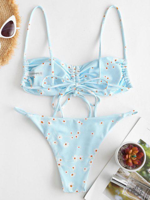 Costume da Bagno Bikini Annodato Floreale a Costine di ZAFUL - Azzurro S Mobile