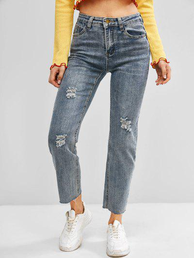 Frayed Hem Ripped High Waisted Stovepipe Jeans - Blue S