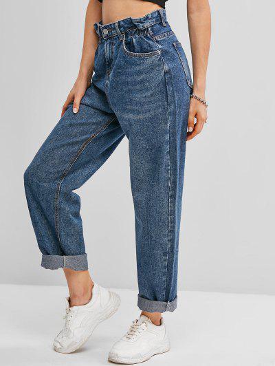 Pockets Bleach Wash Paperbag Jeans - Blue S