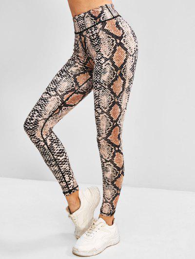 Snakeskin High Waisted Yoga Gym Leggings - Light Coffee M