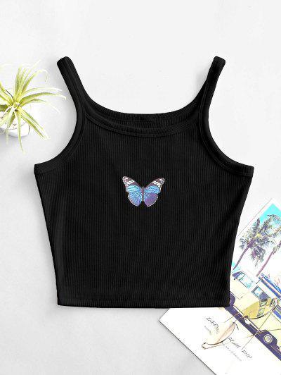 Butterfly Jersey Tank Top - Black L
