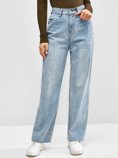 High Waisted Frayed Hem Wide Leg Jeans - Light Blue M