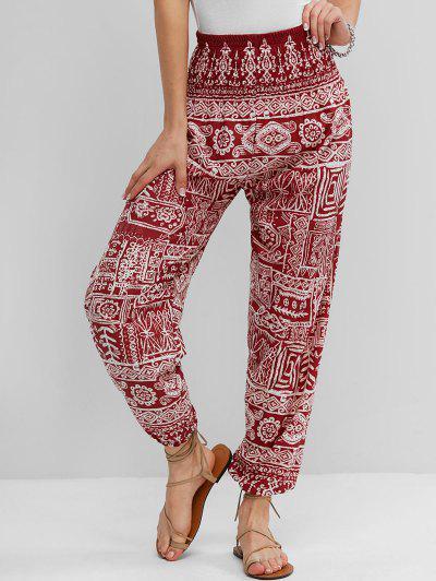 Bohemian Print Smocked Waist Pocket Jogger Pants - Red Xl