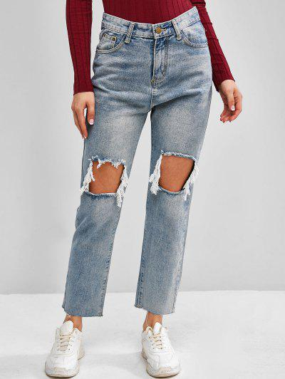 Distressed Light Wash Frayed Hem Stovepipe Jeans - Blue Xl