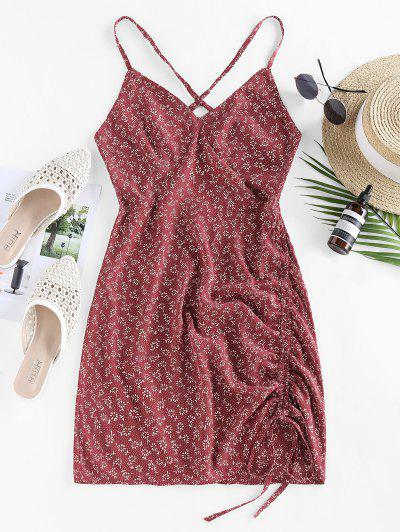 ZAFUL Ditsy Floral Criss Cross Cinched Tie Dress - Deep Red M