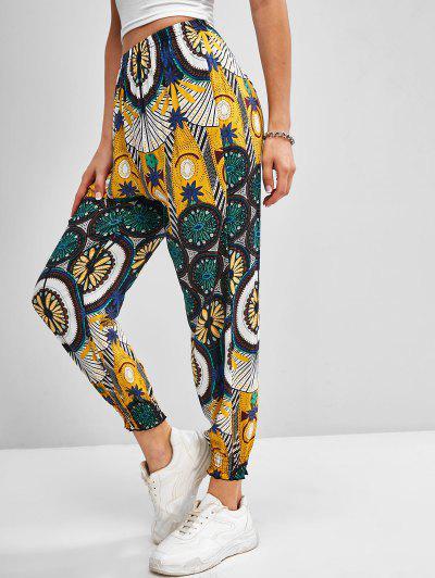 High Waisted Printed Bohemian Jogger Pants - Yellow M