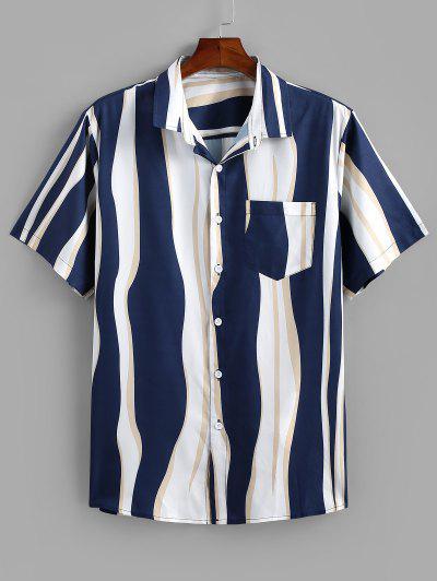 Camisa A Rayas Curvado Estampado Botón Bolsillo - Azul Profundo S