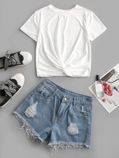 Twisted Hem Frayed Distressed Denim Cutoff Shorts Set - White M