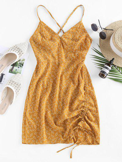 ZAFUL Ditsy Floral Criss Cross Cinched Tie Dress - Yellow L