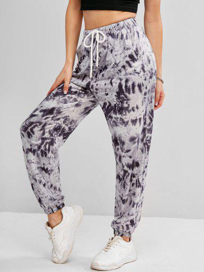 Tie Dye Drawstring Pocket Jogger Pants - Gray S